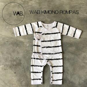 WAB KIMONO ROMPAS 赤ちゃん ロンパス モノトーン おしゃれ 出産祝い ベビー シンプル キモノ型 着させやすい 3-6M
