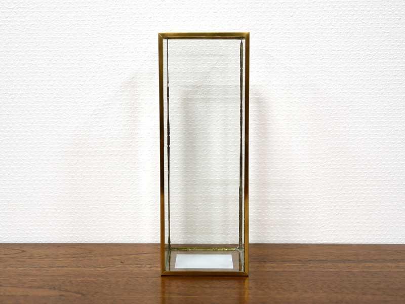 ブラスフレーム ガラスベース バーティカル フラワーベース 花瓶 花器 ガラス ブラス 真鍮 きれい ディスプレイ おしゃれ アンティーク 北欧 アジアン雑貨 輸入雑貨