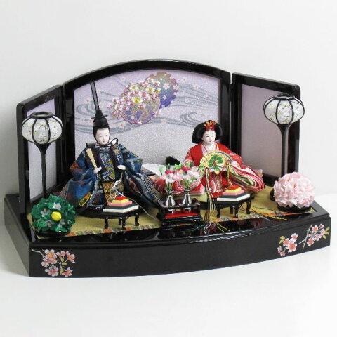 雛人形 親王飾り 雛 平飾り【目玉品】ひな人形 赤と紺の雛人形親王飾り