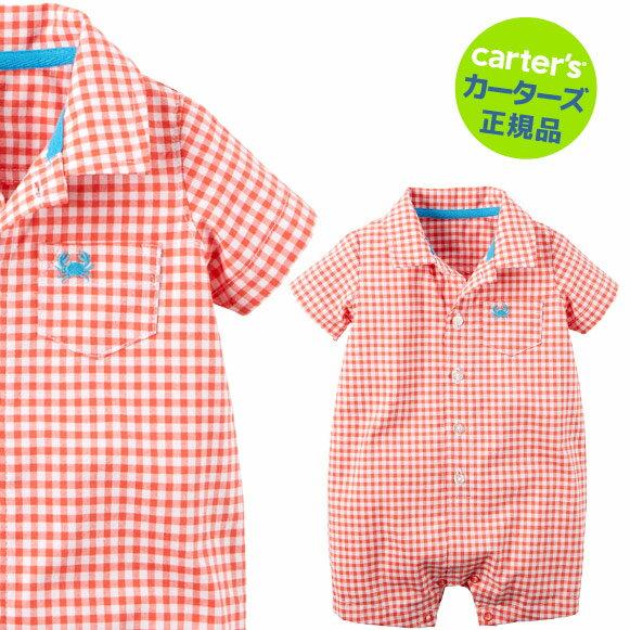 【残り3Mのみ】カーターズ(Carter's)襟付コットンロンパース(オレンジギンガム)夏物 ロンパース 肌着 赤ちゃん ベビー ボディスーツ 半袖 襟付 (2020WS-A)画像
