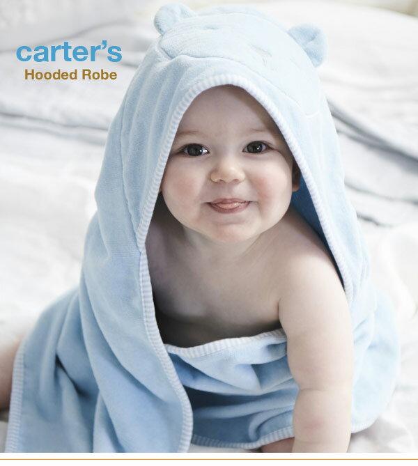 安心のカーターズ正規品(Carter's)お風呂やプールで大活躍!キュートなバスローブ(ブルードッグ)【出産祝い赤ちゃんタオルプール水着お風呂海水浴】
