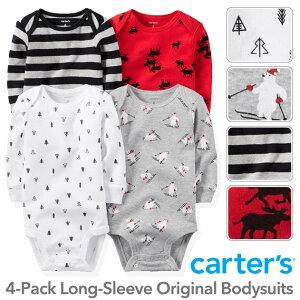 【残り3Mのみ】カーターズ 長袖 4枚組 ロンパース(Winter Holiday デザイン)セット割 ボディスーツ ベビー ボディースーツ Carter's 下着 肌着 短肌着 出産祝い 男の子