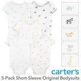 カーターズ 半袖 5枚組 ロンパース(Animal Friends デザイン)セット割 ボディスーツ ベビー ボディースーツ Carter's 下着 肌着 短肌着 男の子 女の子 ユニセックス