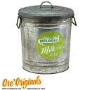OREオリジナルス【ORE Originals】】お洒落でレトロなバケツ型 金属製 おやつ入れ/フードストッカー(Melrose Milk)【おやつ入れ フードストッカー 容器】