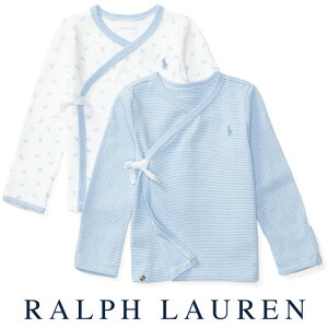 ラルフローレン【Ralph Lauren】前開き短肌着2枚組セット(ブルー)【あす楽対応】(ベビー 出産祝い 赤ちゃん 男の子 長袖)