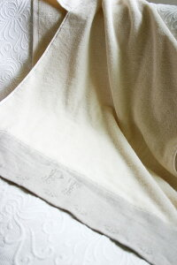 オーガニックコットン麻織り刺繍つきタオル【バスタオル】
