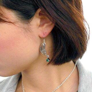 【NEW】AgehaFUNKOUTS【アゲハ】バタフライシルバーフックピアスカラーストーン蝶2個売り両耳用レディース