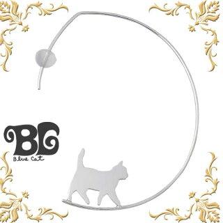 【BlueCat/ブルーキャット】シルバー歩く猫ピアス/シリコンキャッチ/レディース/2個売り/フープタイプ