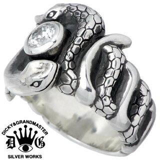 【ディッキー&グランドマスター】ヴァスキシルバーリング/9~17号/キュービック/蛇/指輪/SV/CZ