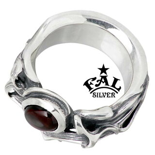 F.A.LFAL【エフエーエル】ブレイズコアシルバーリング指輪ガーネットレディースメンズ5~30号