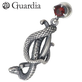 【ガルディア】GuardiaMedusiana蛇シルバーピアスガーネット1個売り左耳用シルバーアクセシルバーアクセサリーシルバー925【_包装選択】ラッピング無料