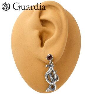 【Guardia/ガルディア】Serpent蛇シルバーピアス/ガーネット/1個売り/左耳用