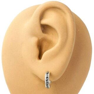 【】[K-SMITH]【ケースミス】(KI-1307631-BK)G型デザインシルバーピアス/ブラックキュービック/SV925/Silver/フープスタッドタイプ/2個売り/両耳用