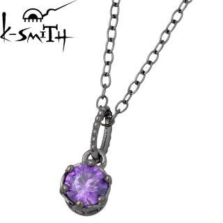 【ケースミス】K-SMITHキュービックシルバーネックレス一粒石ブラック【_包装選択】ラッピング無料