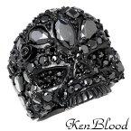 KEN BLOOD【ケンブラッド】 ブラック スカル シルバー リング ブラックキュービック 13号〜27号 指輪CZ シルバーアクセサリー シルバー925 KB-KR-204BK