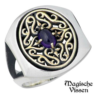【マジェスフィッセン】MagischeVissenメダリオンシルバーリングストーン真鍮指輪15~25号