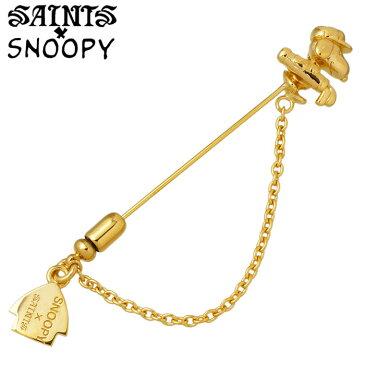 セインツ スヌーピー SAINTS x SNOOPY ゴルフ シルバー ラペルピン メンズ レディース ゴールド ブローチ シルバーアクセサリー アクセ ギフト プレゼント SNPY-H-02GD