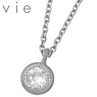 【ヴィー】vieダイヤモンドステンレスネックレス一粒石【_包装選択】ラッピング無料