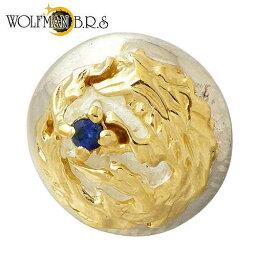 ウルフマン B.R.S WOLFMAN B.R.S ムーン ウルフ ボール スタッド シルバー ピアス アクセサリー 1個売り 片耳用 ゴールド 合成サファイア 狼 月 シルバー925 スターリングシルバー WO-E-020GBL