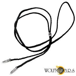 【ウルフマン/WOLFMAN B.R.S】チェーンとは違った雰囲気!三つ編みレザーネックレス【ウルフマ...