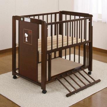 「ミニ スヌーピー 棚付 エコ (ブラウン色) ひのきすのこ 床板 ミニふとん ナチュレコットン付』 ベビーベッド キンタロー ミニベビーベッド ベビー布団 ミニ布団 オーガニック 赤ちゃんベッド すのこタイプ