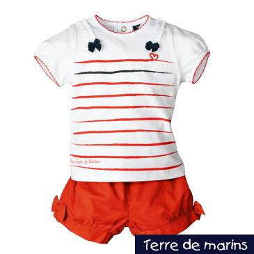 フレンチカジュアルテイスト*Terre de marins(テールドマラン)*Tシャツとショートパンツのセットサイズ:6ヶ月・12ヶ月・23ヶ月★女の子用【出産祝い】女の子【お誕生日】1歳:女