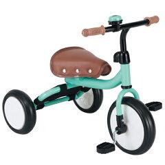 前後調節サドル・布製ミニポケット付三輪車トライク グリーン Trike 三輪車 子供用 シンプル オ...