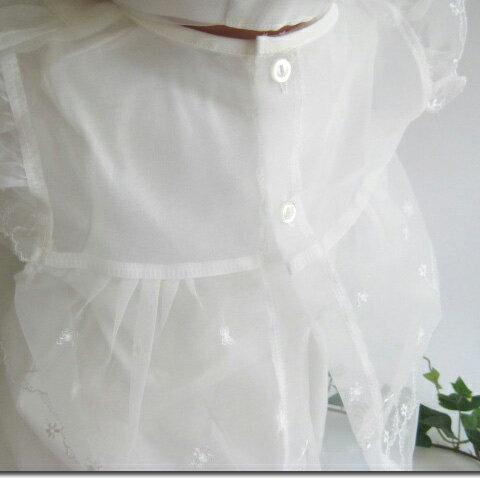 【お宮参り セレモニードレス ベビードレス】胸元の花モチーフがとっても可愛い3点セット(17702)