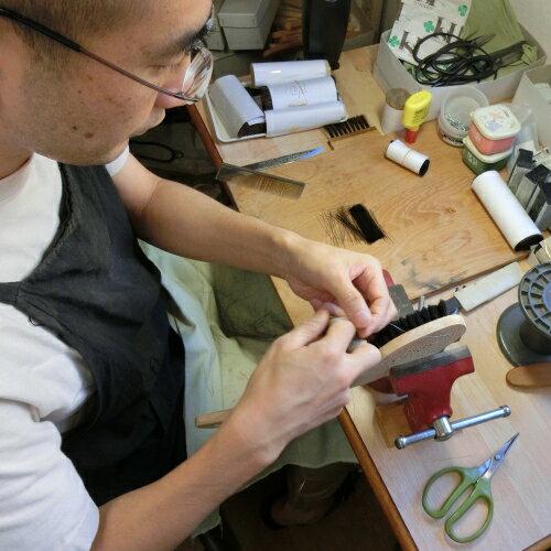 ボディブラシ馬毛長柄背中手植えブラシ青山工房日本製