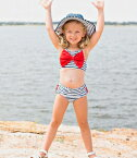 RuffleButtsラッフルバッツ水着ネイビーストライプビキニUVカットスイムスーツ/ツーピース/6M12M18M2T3T◆プレゼント・・キッズ・ベビー子供用・女の子・フリフリフリルアメリカインポートストライプリボン赤UPF50+◆02P27May16