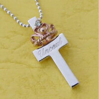 ベビーリング 刻印 プリンセスクロスネックレス K18ピンクゴールド 誕生石入ミニティアラ 名入れ商品