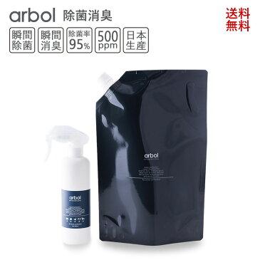 次亜塩素酸ボトルセットArbol(アルボル)1800ml詰め替え用+スプレーボトル(空)セット 除菌消臭 手指消毒剤 次亜塩素酸水 スプレー 消臭 靴 送料無料