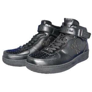 AinForce1MIDcutPlain(Black)ブラック/アインソフオウル/靴/スニーカー/ミッドカット/フォースワン/バッシュ/スカル/スワロフスキー/ラインストーン/シンプル/カジュアル/ストリート/スポーツ