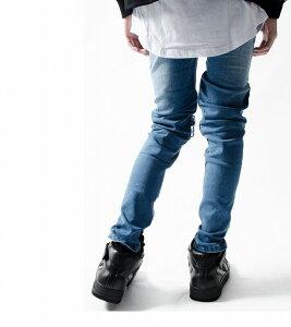 送料無料/backsideoftokyo/バックサイドオブトーキョー/裾ZIPダメージリペアスキニー/パンツ/ブルー/スキニー/デニム/パンツ/ダメージ/リペア/裾ジップ/ホワイト/白/ストリート/カジュアル/モード/ロック