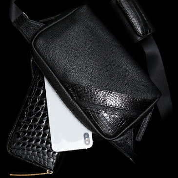【池田工芸】日本最大のクロコダイル専門店が贈るCrocodile Body Bag(クロコダイル ボディバッグ) 【次回出荷日3月28日頃】