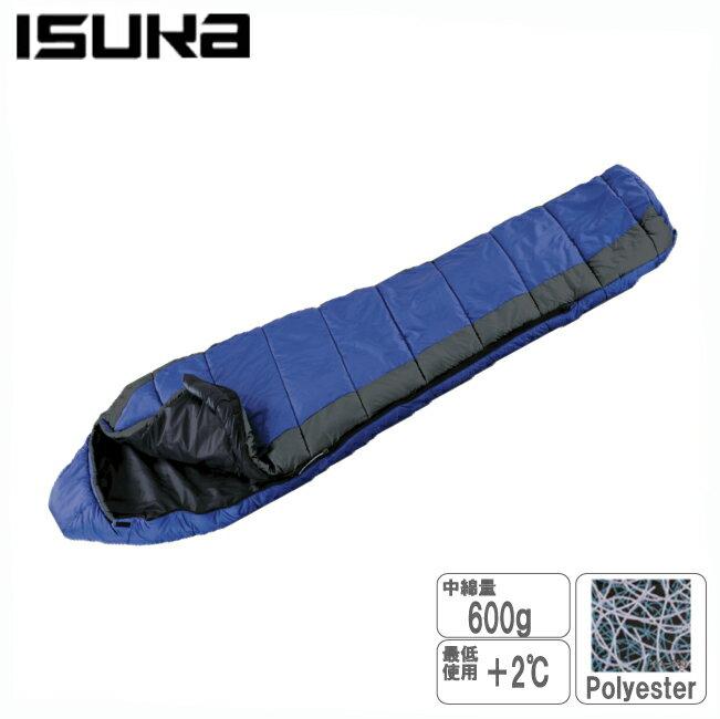 イスカ 117112-パトロール600-ロイヤルブルー 化繊寝袋化繊シュラフ ポリエステル中空綿 スリーピングバッグ 寝袋 キャンプ用品 登山用品