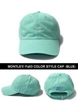 モーレーMONTLEY刺繍ロゴキャップブルーメンズユニセックスストリート定番人気男女兼用Fall3COLORSTYLECAP-BLUE-