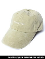 スクレップSCREPキャップ帽子ローキャップスナップバックロークラウンベージュ男女兼用レディースメンズS|C|R|E|PPIGMENTCAP-BEIGE-
