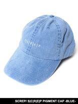 スクレップSCREPキャップ帽子ローキャップスナップバックロークラウンブルー青男女兼用レディースメンズS|C|R|E|PPIGMENTCAP-BLUE-