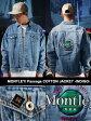 モーレー MONTLEY Passageコットンジャケット デニムジャケット フェルト刺繍入りアウター メンズ 男女兼用 Passage COTTON JACKET -INDIGO-