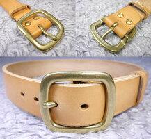 真鍮無垢製ベルト幅40mm用重厚なゴールドバックル