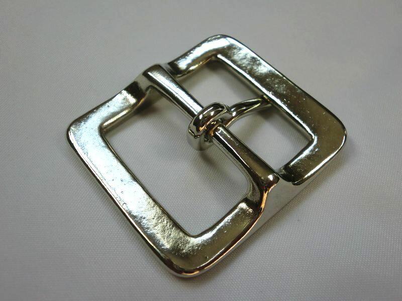 ベルト幅35mm用 スクエアバックル (シルバー)真鍮製 ブラス 馬具職人工房