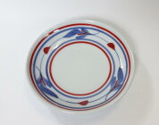 4.6寸切立丸皿赤線三つ葉