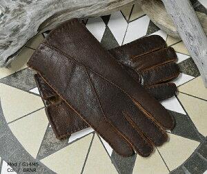 手袋 メンズ レザー Haruf 本物 ムートン手袋 イタリア製のムートンを使ったムートン手袋 毛皮手袋 G14M5 【 てぶくろ レザー 革 ムートン 防寒 メンズ 】 BRNR【楽ギフ_包装】