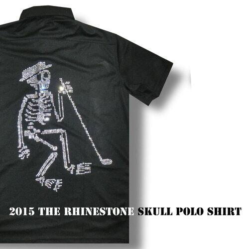 新作ラインストーン クラブスカル ポロシャツ/M−4Lスカル 人気 メンズ ゴルフウェア ハーフ...