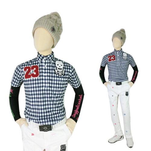 ギンガムチェック スカルpoloシャツ/S−4Lスカル 人気 メンズ ゴルフウェア ハーフパンツ ス...