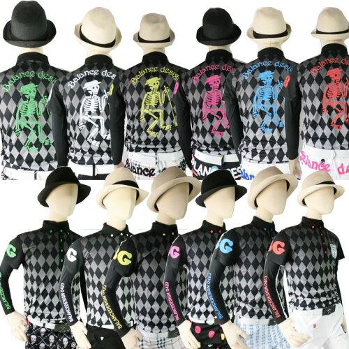 新作アーガイルグラデーションカラフルスカル刺繍poloシャツ/M−5Lスカル 人気 メンズ ゴルフウ...