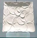 【Jenggala・ジェンガラ】◆フランジパニ角皿(全面/大柄)ホワイト26cm角◆ (アジアン食器・お皿・卓上テーブルアイテム・バリプレミアム)