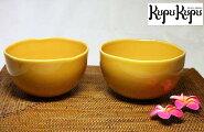 アジアン雑貨ジェンガラ社製食器お椀セット(2個入り)黄色