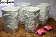 アジアン雑貨ジェンガラ社製食器湯呑みセット(4個入り)貝柄入り白色